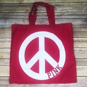 PINK Victoria's Secret Pink Peace Sign Tote Bag